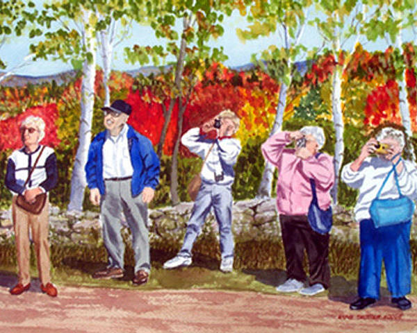 People Poster featuring the painting The Leaf Peepers by Anne Trotter Hodge