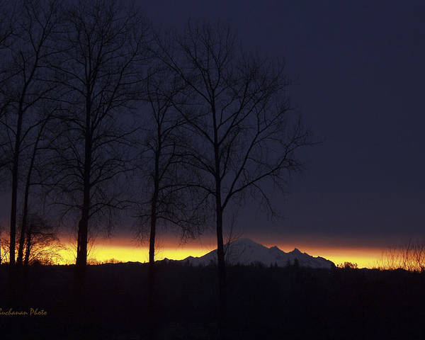 Mount Baker Poster featuring the photograph The Light On The Mountain by Tom Buchanan