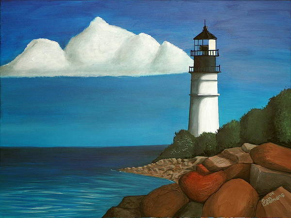 Landscape Poster featuring the painting The Lighthouse by Dan Leamons