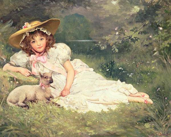 The Little Shepherdess Poster featuring the painting The Little Shepherdess by Arthur Dampier May