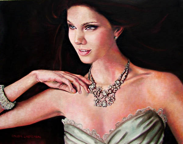 Crystal Poster featuring the painting The Look by Claudia Lardizabal