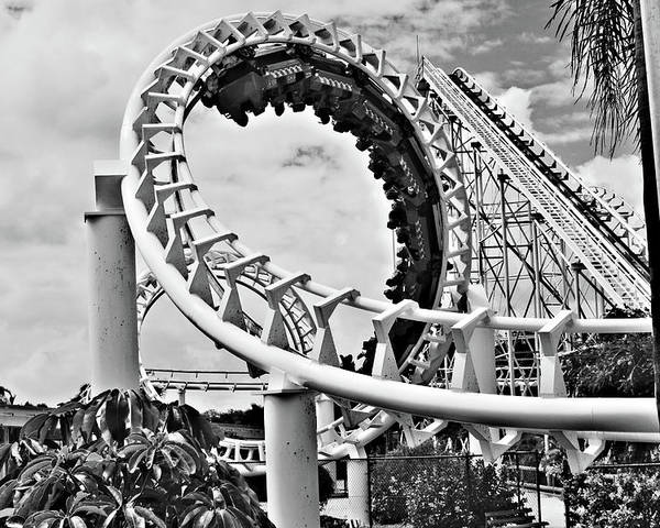 Roller Coaster Poster featuring the photograph The Loop Black And White by Douglas Barnard