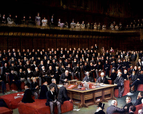The Poster featuring the painting The Lord Chancellor About To Put The Question In The Debate About Home Rule In The House Of Lords by English School