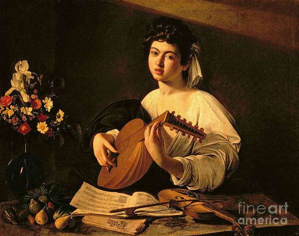 The Lute Player Poster featuring the painting The Lute Player by Michelangelo Merisi da Caravaggio