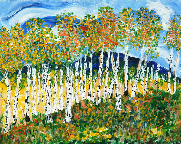 Each Time I Look Out My West Studio Window And See What Beautiful Aspen Stretch Out In Front Of Me I Am Beyond Grateful! Those Elegant Trees Wrapped In White Sheaths & Called quakies By Some Poster featuring the painting The Magical Aspen Forest by Christy Woodland