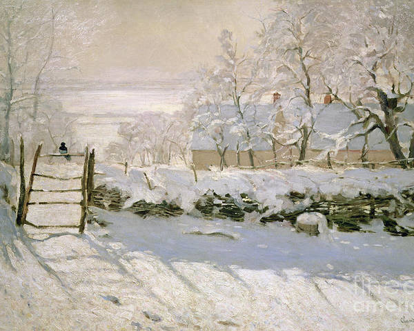 The Poster featuring the painting The Magpie by Claude Monet