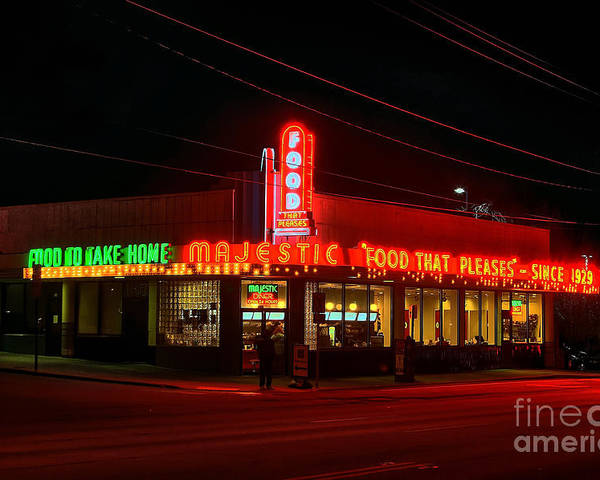 The Majestic Diner Poster featuring the photograph The Majestic Diner by Corky Willis Atlanta Photography