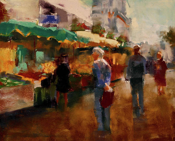 Market Poster featuring the pastel The Market by David Patterson