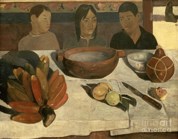 The Meal The Meal (the Bananas) Poster featuring the painting The Meal by Paul Gauguin