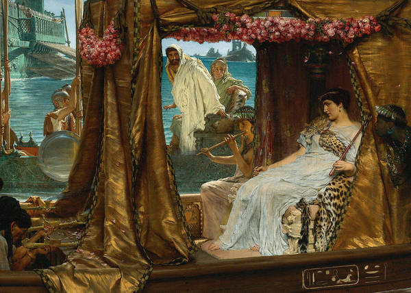 Lawrence Alma-tadema Poster featuring the digital art The Meeting Of Antony And Cleopatra By Lawrence Alma-tadema by Sarah Vernon