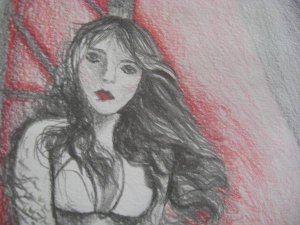 Mermaid Poster featuring the drawing The Mermaid Close Up by Theodora Dimitrijevic