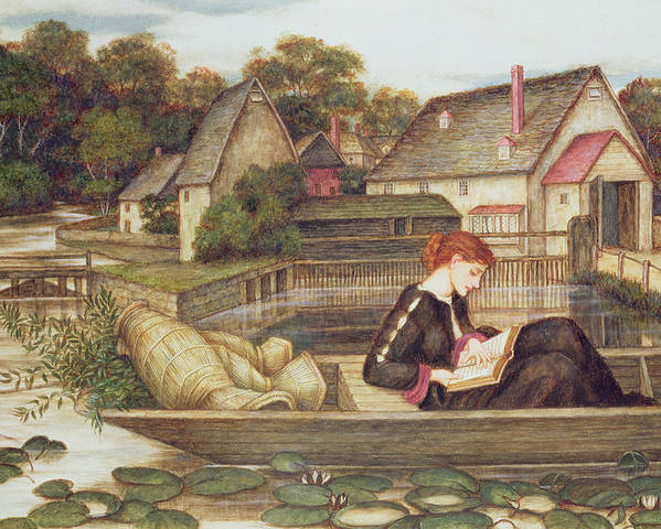 Waterlilies; Boat; Woman Reading; Pre-raphaelite Poster featuring the painting The Mill by John Roddam Spencer Stanhope