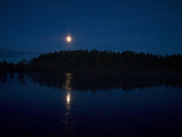Lehtokukka Poster featuring the photograph The Moon Over Saari-soljanen by Jouko Lehto