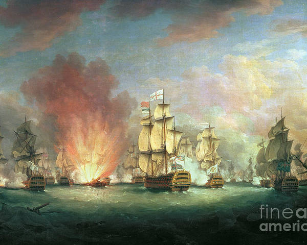 The Poster featuring the painting The Moonlight Battle by Richard Paton