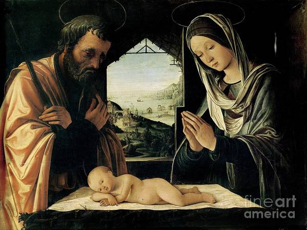 The Poster featuring the painting The Nativity by Lorenzo Costa