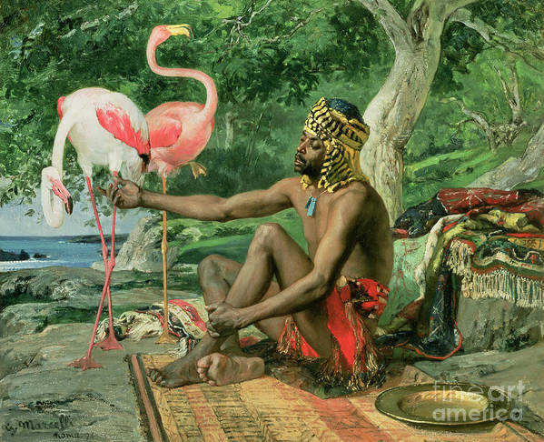 The Nubian Slave (oil On Canvas) By Georgio Marcelli (fl.1874) Poster featuring the painting The Nubian by Georgio Marcelli
