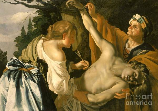 The Poster featuring the painting The Nursing Of Saint Sebastian by Theodore van Baburen
