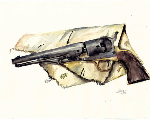 Watercolor Poster featuring the painting The Old Colt by Jerry Cave