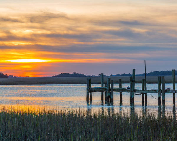 Folly Beach Poster featuring the photograph The Old Dock - Charleston Low Country by Donnie Whitaker
