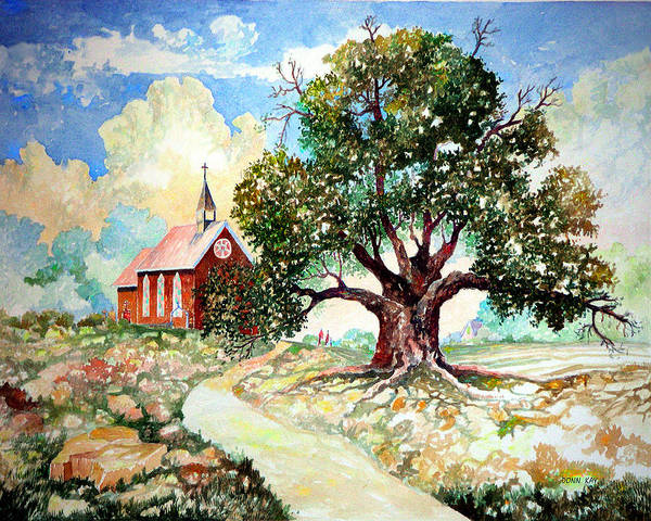 Giclee Prints Church House Tree Texas New Mexico Southwest Landscape Watercolor Poster featuring the painting The Old Oak Church by Donn Kay
