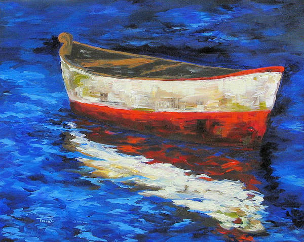 Boat Poster featuring the painting The Old Red Boat II by Torrie Smiley