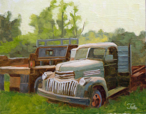 Old Trucks Poster featuring the painting The Old Work Force by Tate Hamilton