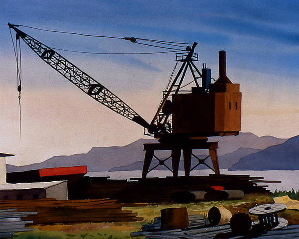 Crane Poster featuring the painting The Oldcrane by Faye Ziegler