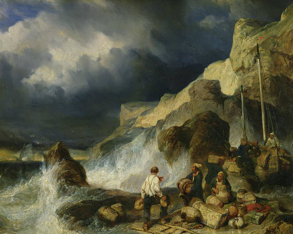 The Poster featuring the painting The Onslaught Of The Smugglers by Louis Eugene Gabriel Isabey