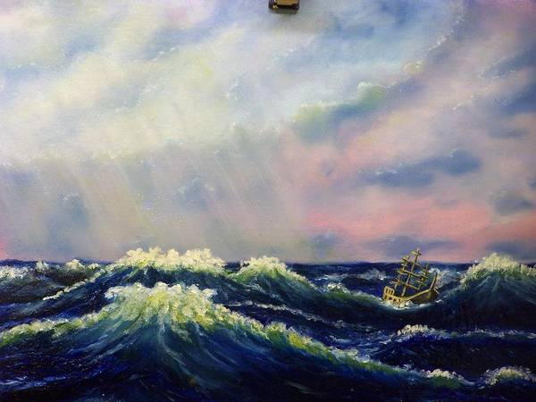 Water Poster featuring the painting The Perfect Storm by Charles Vaughn