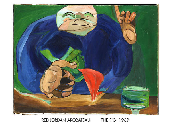 Pig Poster featuring the painting The Pig by Red Jordan Arobateau