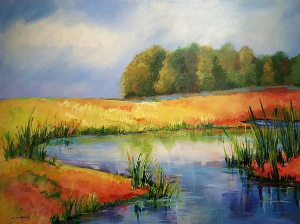 Ponds Poster featuring the painting The Pond by Ginger Concepcion