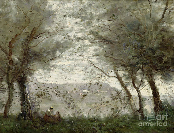 The Poster featuring the painting The Pond by Jean Baptiste Corot