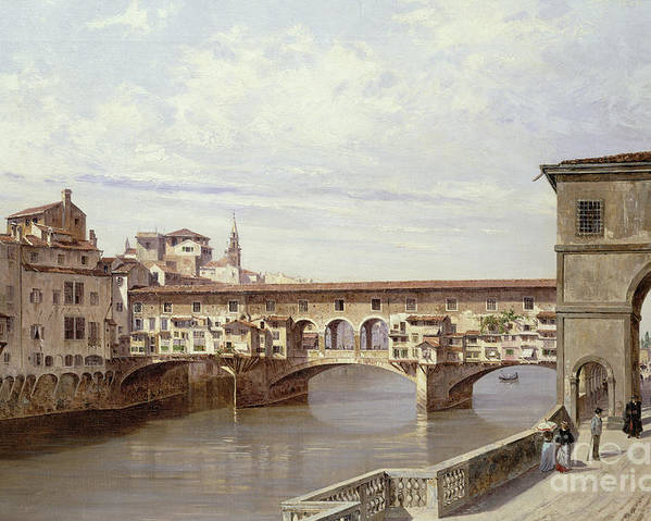 The Poster featuring the painting The Pontevecchio - Florence by Antonietta Brandeis