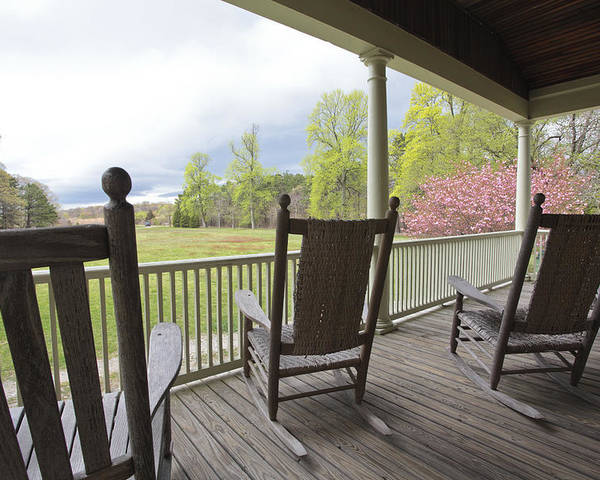 Rocking Chairs Poster featuring the photograph The Porch by Steve Gravano
