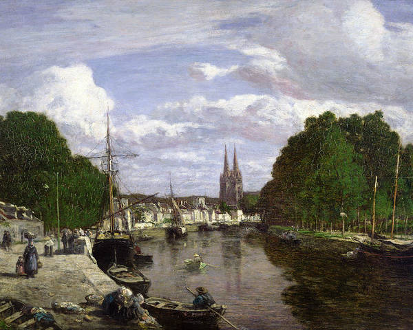 The Poster featuring the painting The Port At Quimper by Eugene Louis Boudin