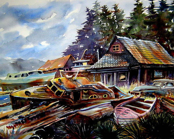 Boats Poster featuring the painting The Preserve Of Captain Flood by Ron Morrison