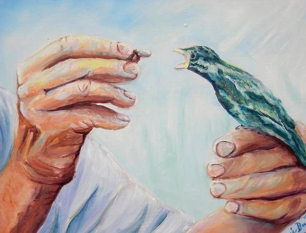 Contemporary Poster featuring the painting The Provider by Renee Dumont Museum Quality Oil Paintings Dumont