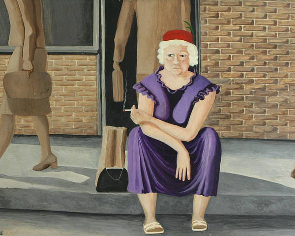 Figurative Poster featuring the painting The Purple Dress by Georgette Backs