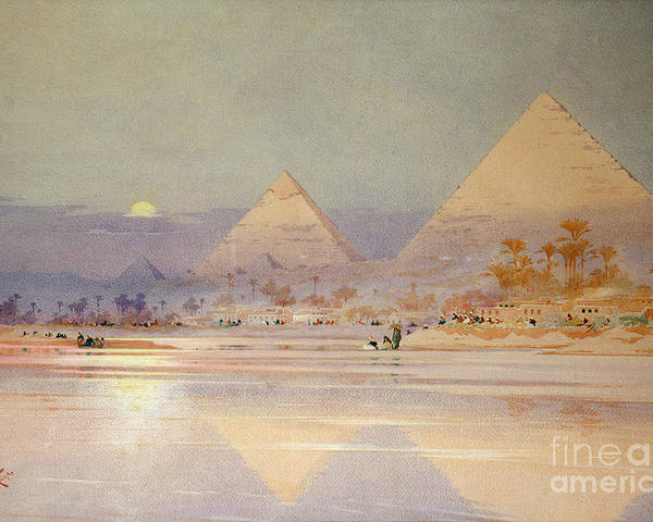 The Poster featuring the painting The Pyramids At Dusk by Augustus Osborne Lamplough
