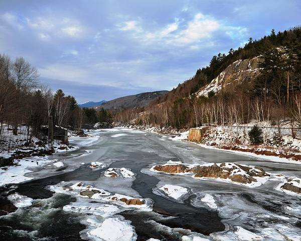 Back Roads Of New Hampshire January 28 Poster featuring the photograph The Rapids In Winter by Bill Driscoll