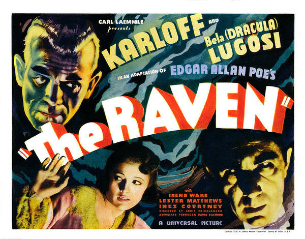 1930s Movies Poster featuring the photograph The Raven, From Left Boris Karloff by Everett