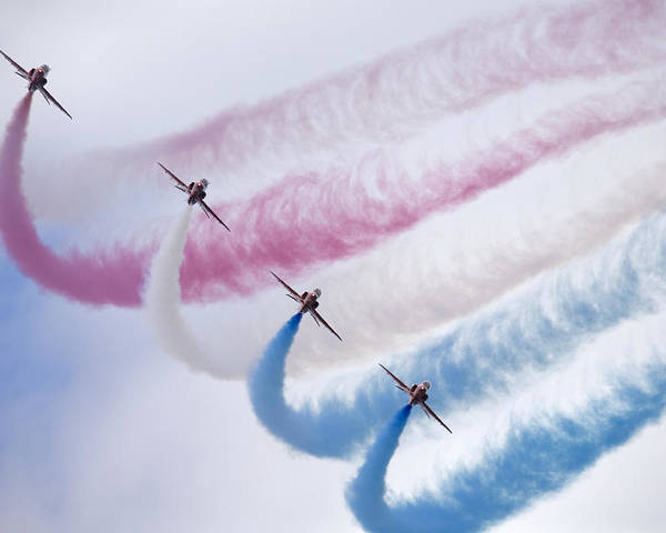 Red Poster featuring the photograph The Red Arrows by Ian Middleton