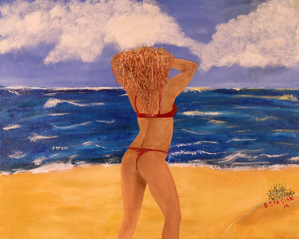 Seascape Poster featuring the painting The Red Bikini by David Stasiak