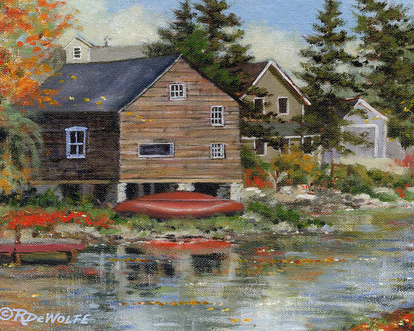 Autumn Poster featuring the painting The Red Canoe by Richard De Wolfe