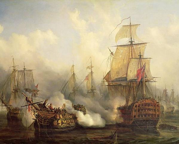 The Poster featuring the painting The Redoutable At Trafalgar by Auguste Etienne Francois Mayer