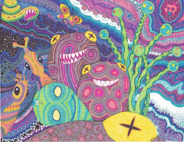 Sea Poster featuring the drawing The Reef by Wendy Hagelgans
