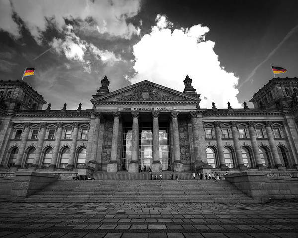 Berlin Poster featuring the digital art The Reichstag  by Nathan Wright