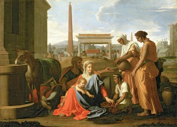 The Poster featuring the painting The Rest On The Flight Into Egypt by Nicolas Poussin