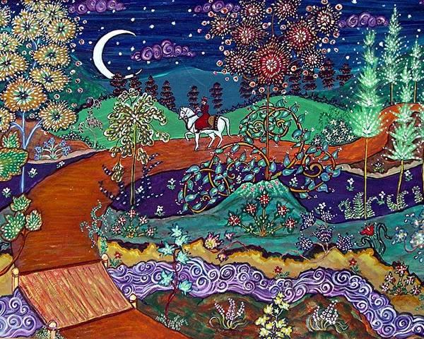 Night Poster featuring the painting The Return by Caroline Urbania Naeem