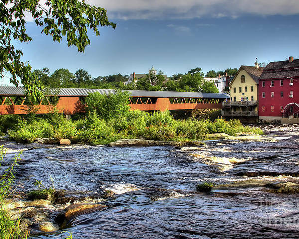 Covered Bridge In Littleton Nh Poster featuring the photograph The River Walk Bridge by Diana Nault